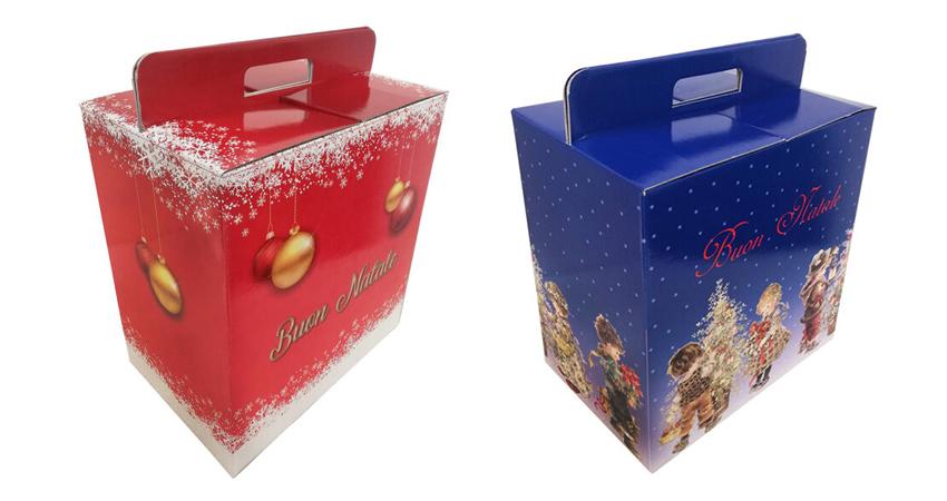 Decorazioni natalizie in cartone e bauletti regalo