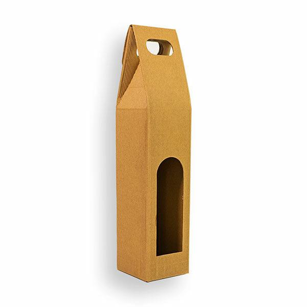 Porta bottiglia singola con manico 8x8x33 (LxPxH)