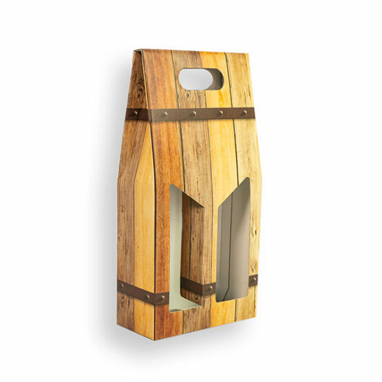 Porta bottiglia doppia con manico bordolese 19x9x39,5cm (LxPxH)