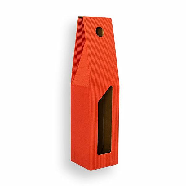 Porta bottiglia singola con manico 8x8x33 (LxPxH) colore rosso